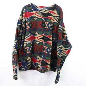 Vtg 90s EMS Mens XL Navajo Print Fleece Sweatshirt